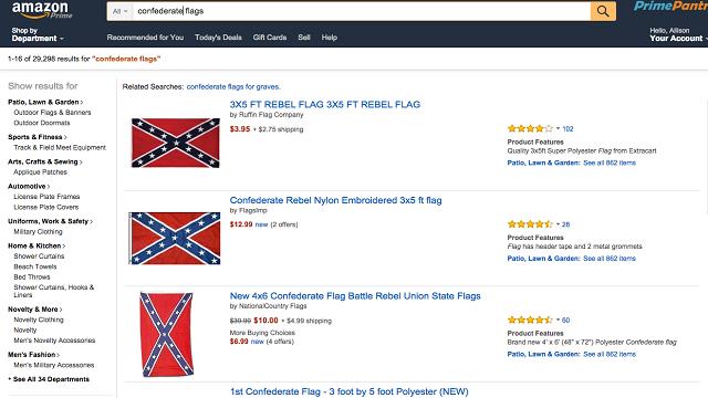Prohíbida la venta de la Bandera Confederada en Amazon y en eBay