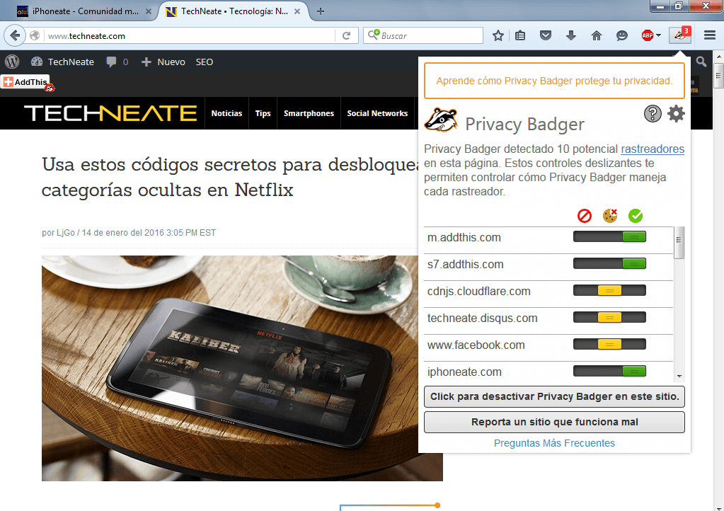 Privacy Badger en TechNeate